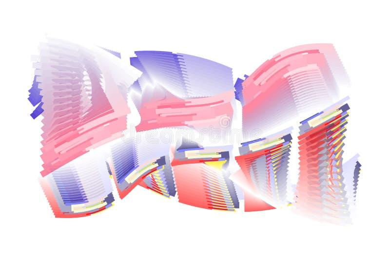 Onda quadrada do mosaico colorido abstrato, translúcido e sobrepondo no fundo branco ilustração stock