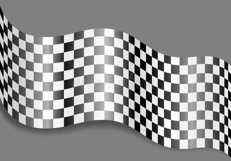 Onda a quadretti della bandiera su progettazione grigia per il vettore del fondo della corsa royalty illustrazione gratis