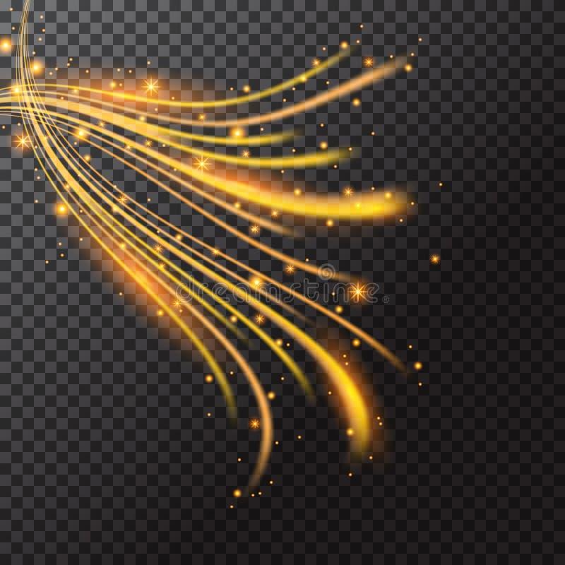 Onda que brilla intensamente de las chispas de oro aisladas en fondo negro L stock de ilustración