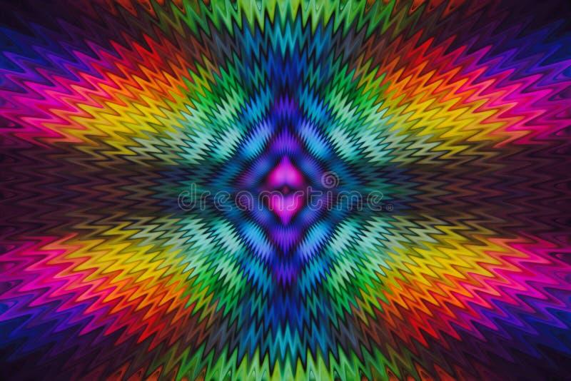 onda radial del arco iris multicolor del fondo del extracto del centro de la simetría stock de ilustración