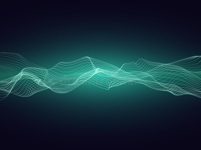 A onda sadia abstrata da energia com partículas dinâmicas vector o fundo ilustração royalty free