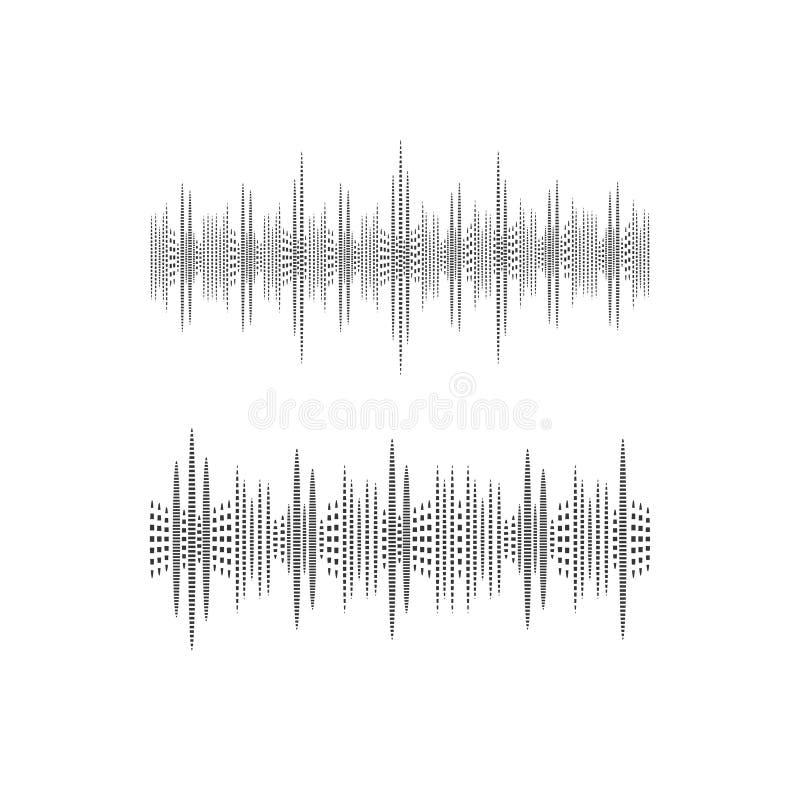 Onda sadia de intervalo mínimo, ilustração do VETOR, ícones preto e branco, ondas da música ilustração stock