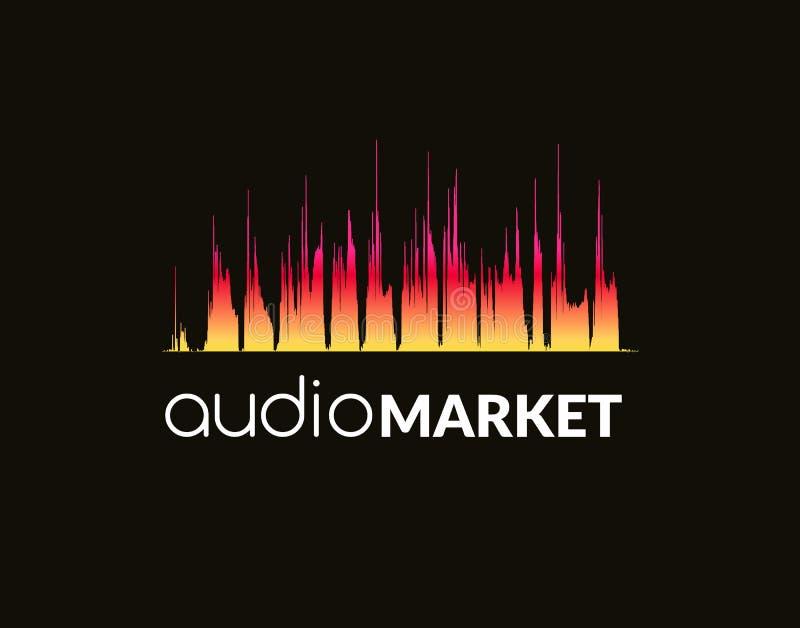 Onda sadia do conceito do logotipo da música, estúdio, música, DJ, sistema de áudio, loja, partido Tipo, marcando, empresa, incor ilustração royalty free
