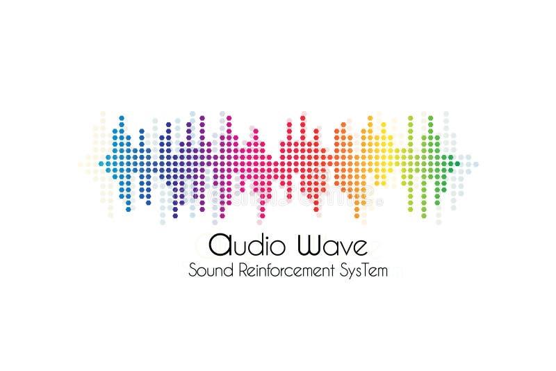 Onda sadia do conceito do logotipo da música, emblema de empresa do estúdio de gravação ilustração royalty free