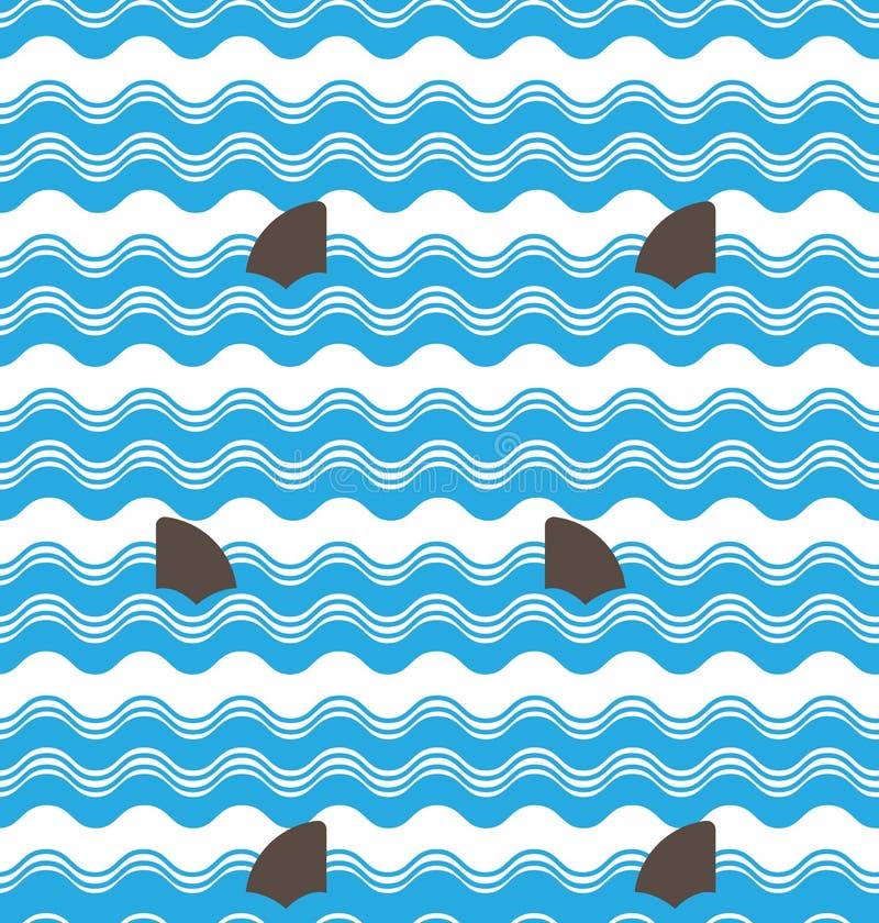A onda sem emenda abstrata listra testes padrões com a aleta do tubarão, repetindo o projeto do vetor das telhas da textura ilustração do vetor