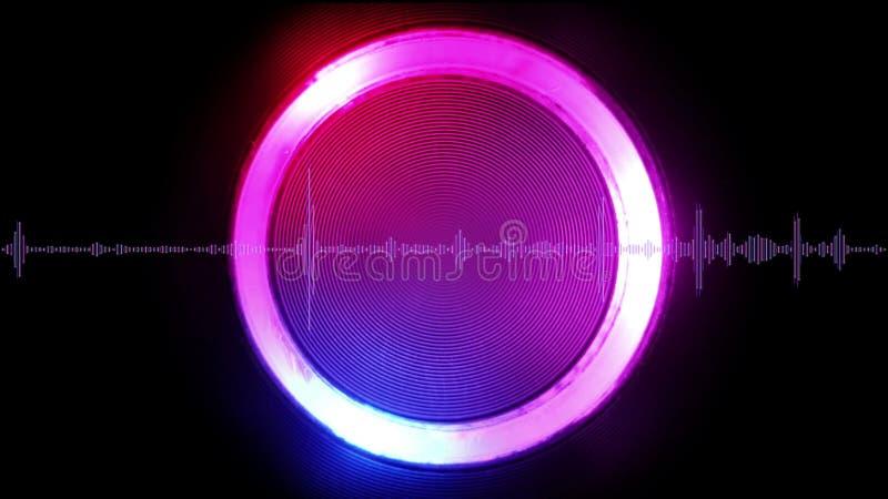 Onda sonora con l'elemento circolare luminoso sull'illustrazione del fondo 3D illustrazione di stock