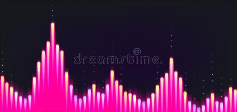 Onda sonora dal fondo dell'equalizzatore, grafico rosa sul contesto del darck illustrazione di stock