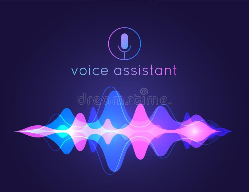 Onda sonora di aiuto di voce Tecnologia di controllo di voce del microfono, voce e riconoscimento sano Assistente di AI di vettor illustrazione di stock