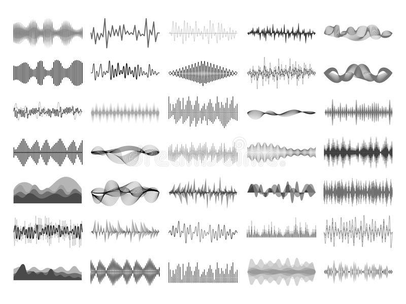 Onda sonora e pannello digitale dell'equalizzatore di musica Vettore sonico di visualizzazione di voce di impulso del battito di  illustrazione di stock