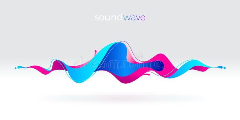 Onda sonora fluida astratta multicolore illustrazione di stock