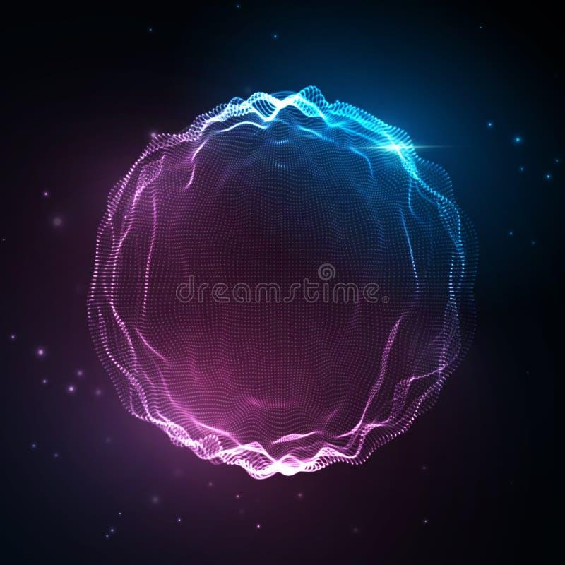 Onda sonora Fondo al neon astratto, voce di musica di vettore, spettro digitale di forma d'onda di canzone, audio impulso e frequ royalty illustrazione gratis