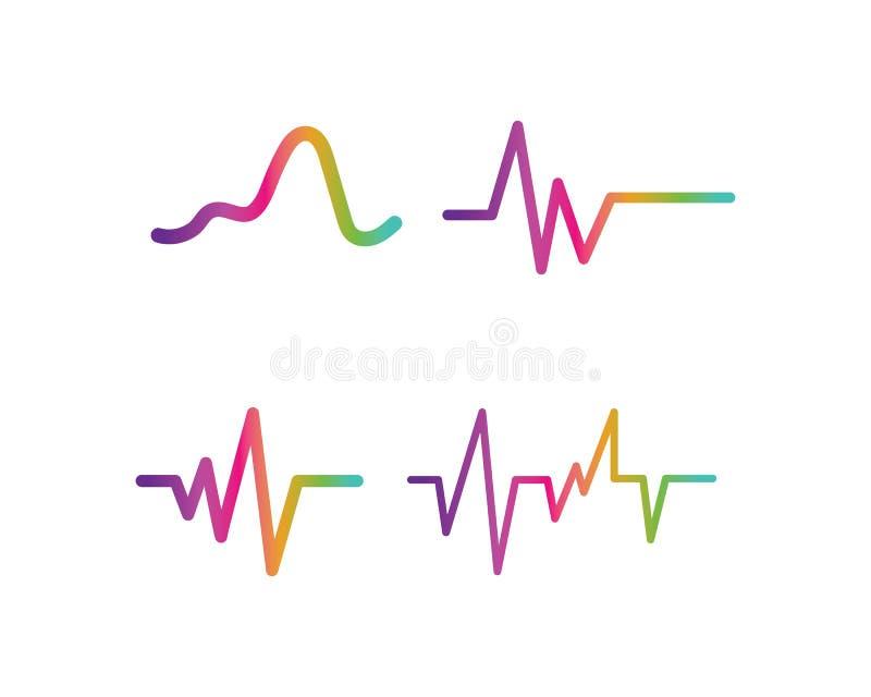 onda sonora, icona di vettore di logo di ilustration di impulso royalty illustrazione gratis