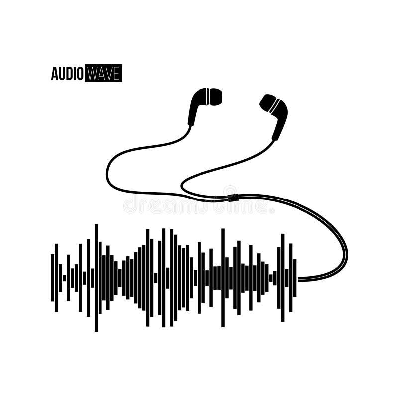 Onda sonora nera con le cuffie su bacground bianco Progettazione della maglietta o del manifesto di vettore royalty illustrazione gratis