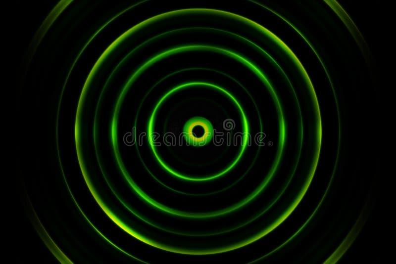 Onda sonora o segnale digitale verde del cerchio, fondo astratto fotografia stock
