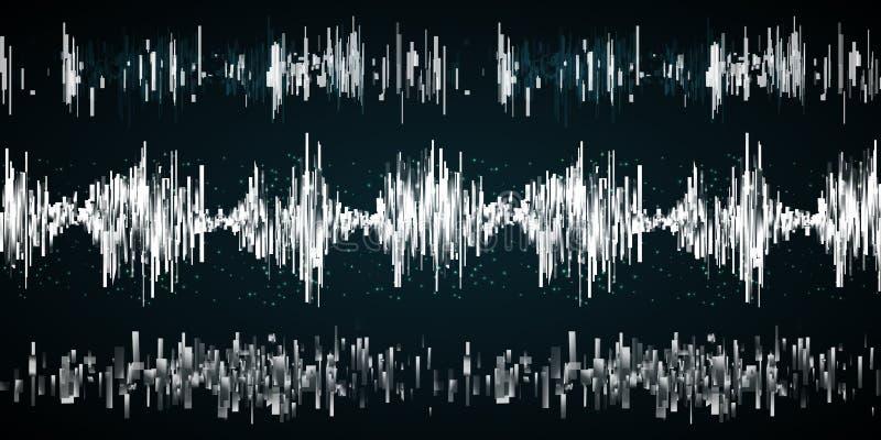 Onda sonora su un fondo scuro illustrazione di stock