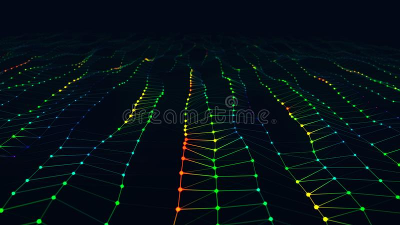 Onda superficial brillante abstracta moderna del rojo, verde y azul con campo visual stock de ilustración