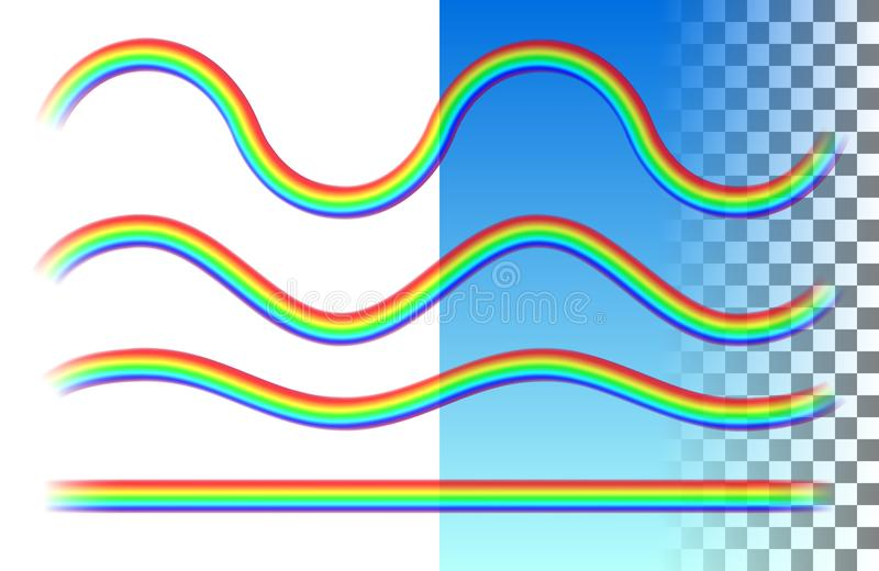 Onda traslucida degli arcobaleni e linee rette illustrazione di stock