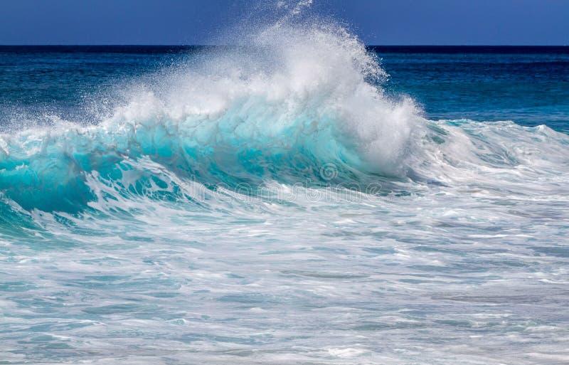 Onda Turquesa Ocean no Havaí imagem de stock