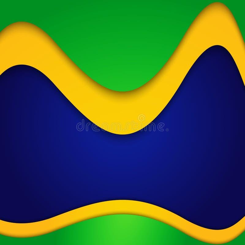 Onda variopinta di concetto della bandiera del Brasile di vettore illustrazione di stock