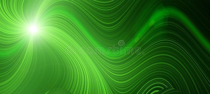 Onda verde-clara do efeito do fluxo do fulgor Energia dinâmica do movimento Ilustração do molde do projeto ilustração royalty free
