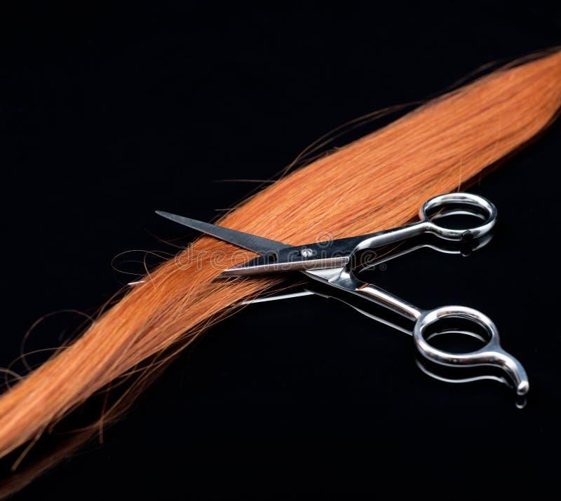 Onda vermelha do cabelo e de tesouras naturais no fundo preto imagens de stock