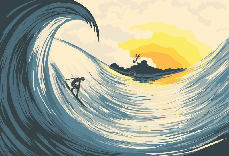 Onda y persona que practica surf tropicales de la isla ilustración del vector