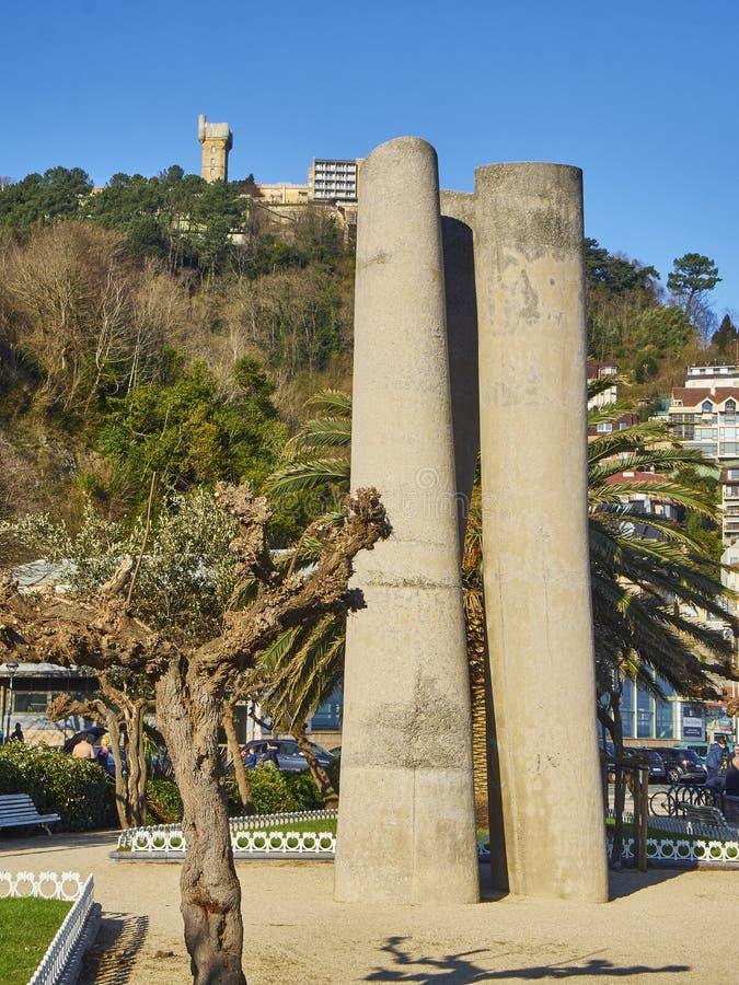 Ondarreta-stranden San Sebastian, Baskien Spanien royaltyfri fotografi