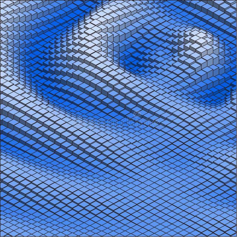 Ondas abstratas do azul do fundo do vetor 3d ilustração stock