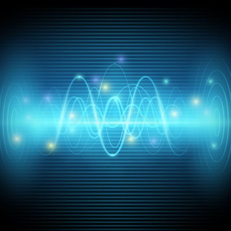 Ondas acústicas abstractas, diseño azul del vector del equalizador de la música ligera libre illustration