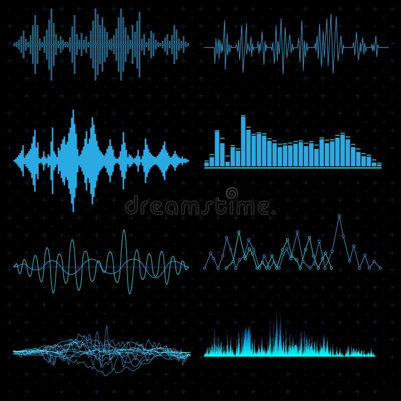 Ondas acústicas azules ilustración del vector