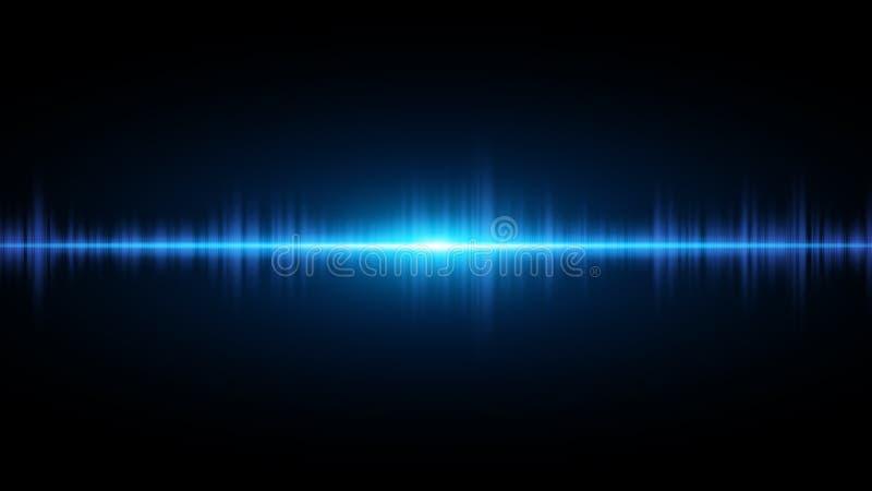Ondas acústicas de azul claro en un fondo oscuro Fondo para la radio, club, partido Vibración de la luz Flash brillante de la luz libre illustration