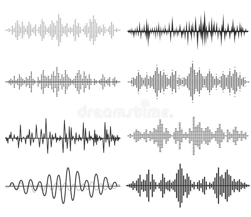 Ondas acústicas de la música negra Tecnología audio stock de ilustración