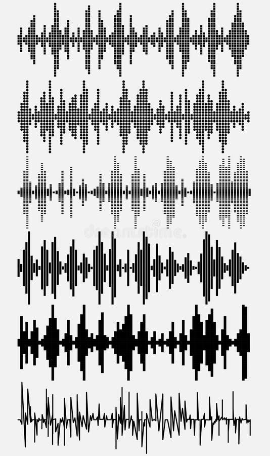 Ondas acústicas fijadas stock de ilustración