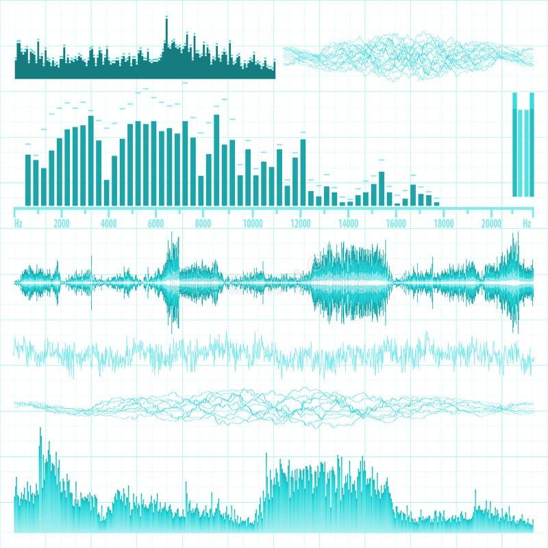 Ondas acústicas fijadas. Fondo de la música. EPS 8 ilustración del vector