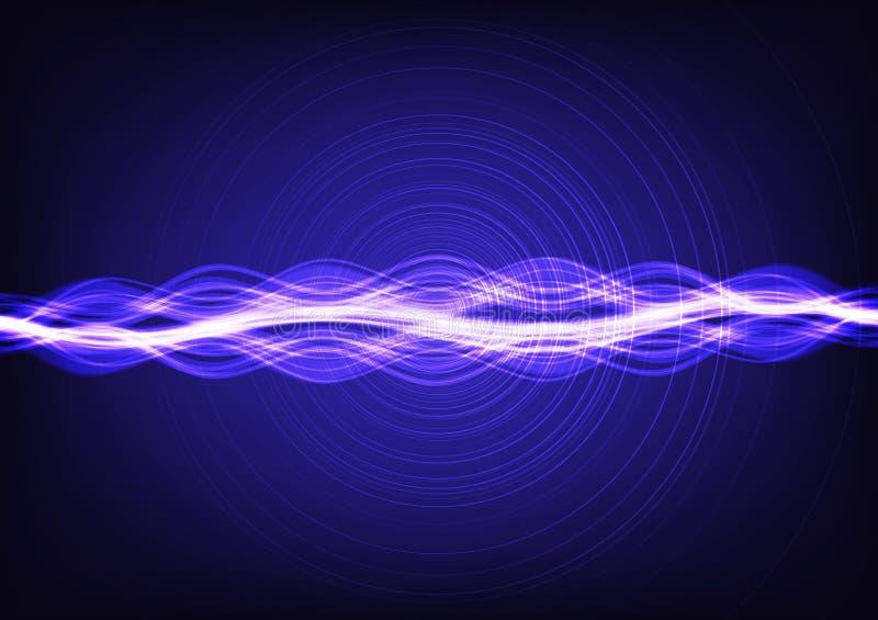 Ondas acústicas que fluyen de neón modernas de Digitaces en el concepto ultravioleta del equalizador del fondo, de la tecnología  stock de ilustración