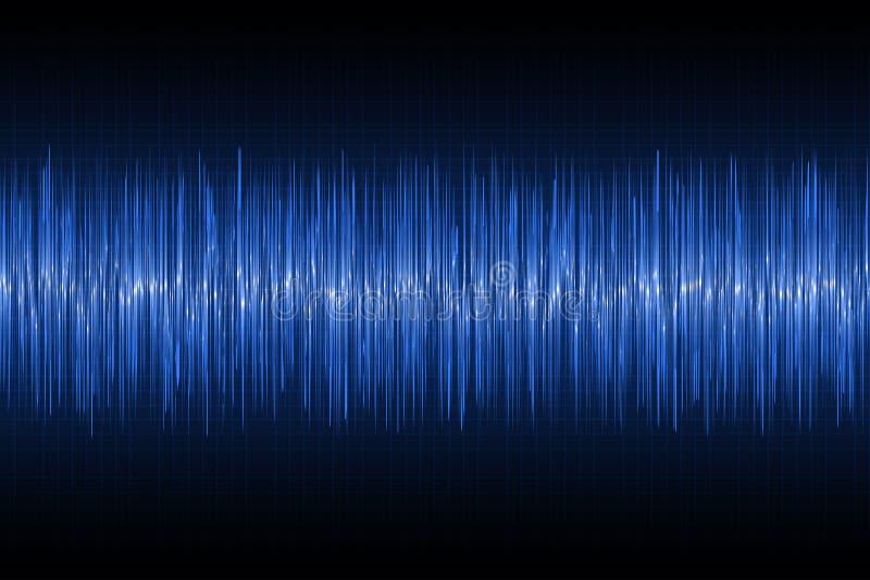 Ondas acústicas que oscilan en fondo de la tecnología Onda azul de la música del resplandor Vector stock de ilustración