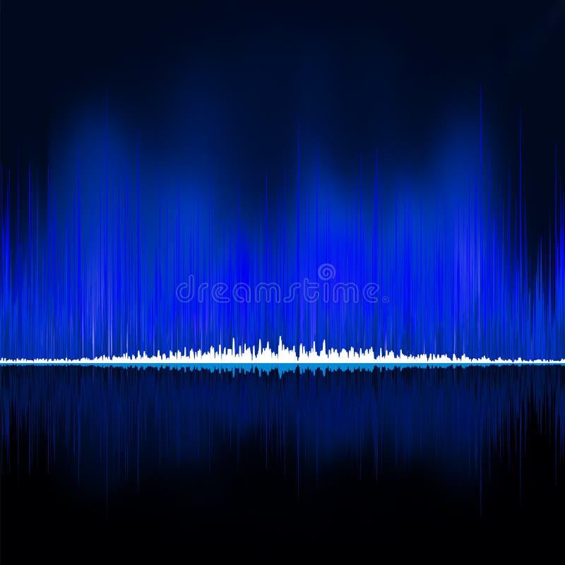 Ondas acústicas que oscilan en fondo negro EPS 8 ilustración del vector