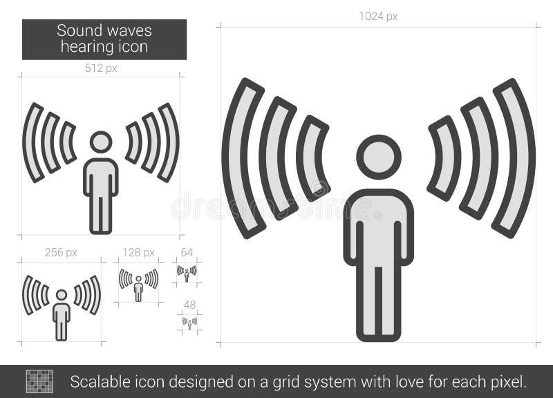 Ondas acústicas que oyen la línea icono libre illustration