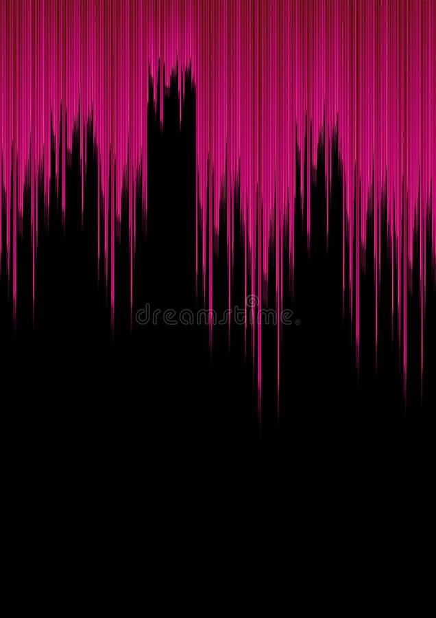 Ondas acústicas rosadas en fondo negro; En el concepto fresco y moderno ilustración del vector
