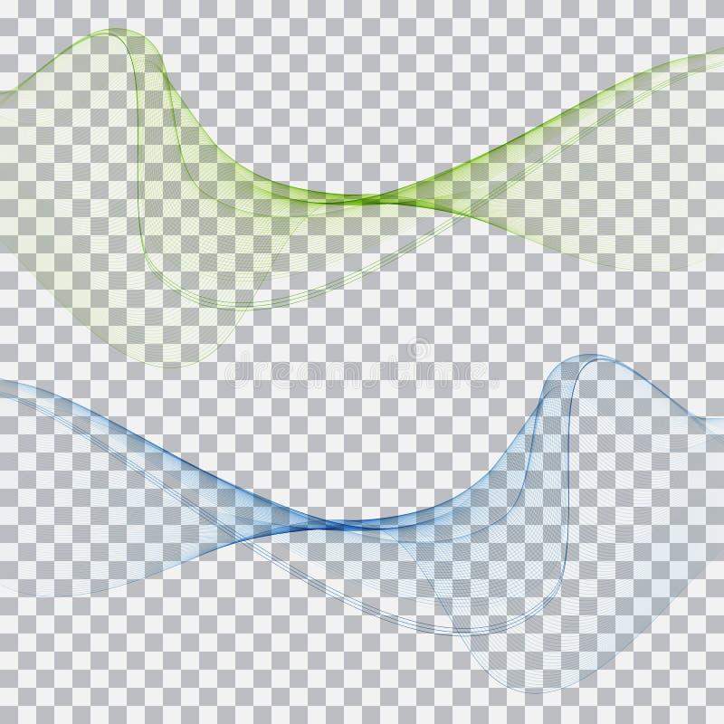 Ondas azulverdes elegantes abstractas stock de ilustración