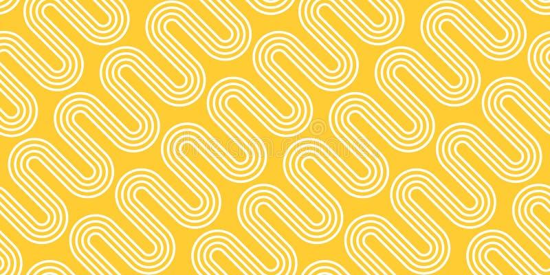 Ondas blancas en fondo amarillo Vector el modelo incons?til Textura abstracta de los tallarines libre illustration