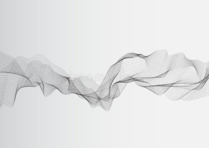 Ondas brancas cinzentas da rede do ponto do sumário e linhas teste padrão Vetor ilustração royalty free