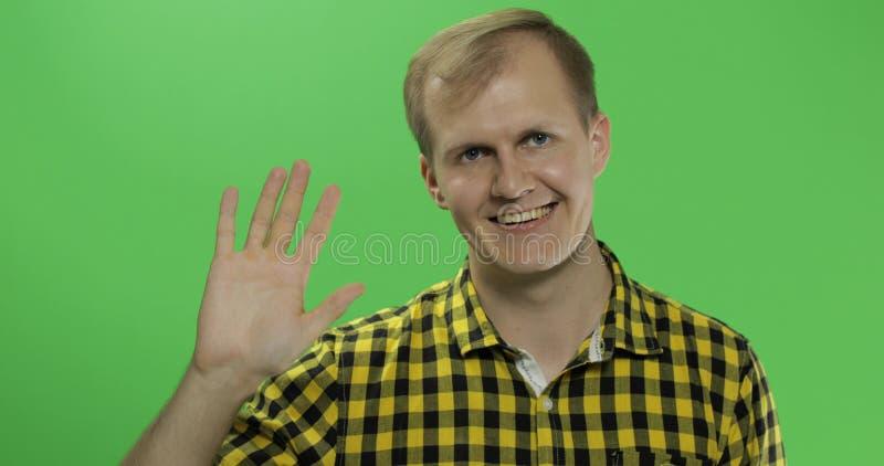 Ondas caucasianos consideráveis do homem e saudação na chave verde do croma da tela foto de stock royalty free