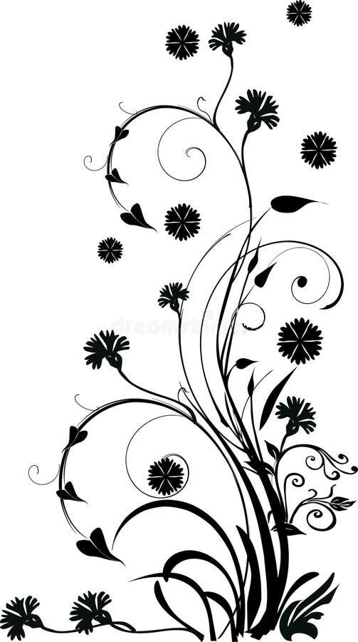 Ondas conventionalized preto da flor ilustração stock