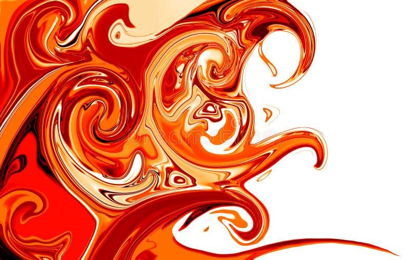 Ondas curly vermelhas abstratas ilustração royalty free