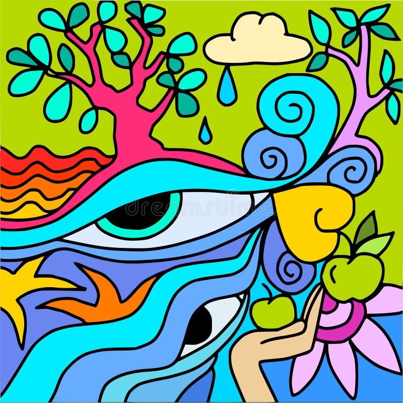 Ondas da árvore e do azul ilustração do vetor