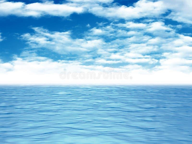 Ondas de água da calma do mar do oceano sob o céu azul da nuvem ilustração stock