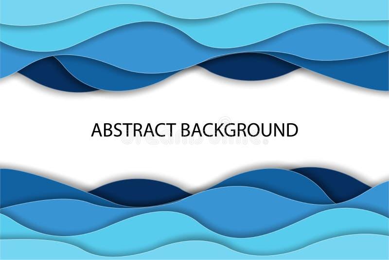 Ondas de agua azul abstractas del arte de papel Plantilla del dise?o de la papiroflexia Ilustraci?n del vector fotografía de archivo