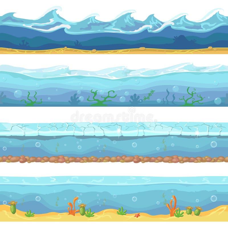 Ondas de agua o vector inconsútil del océano, mar libre illustration