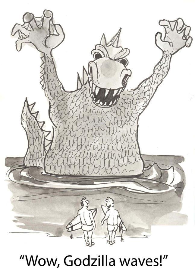 Ondas de Godzilla ilustração do vetor